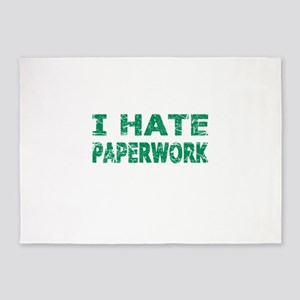 I Hate Paperwork (Green) 5'x7'Area Rug