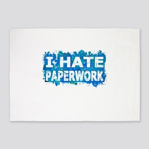 I Hate Paperwork (Ink Spots) (Blue) 5'x7'Area Rug