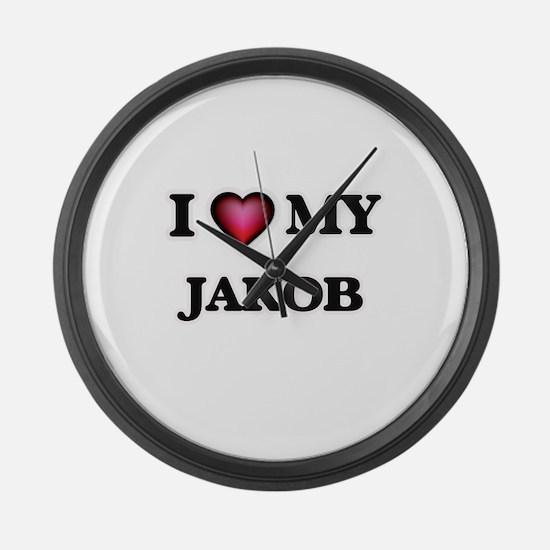 I love Jakob Large Wall Clock