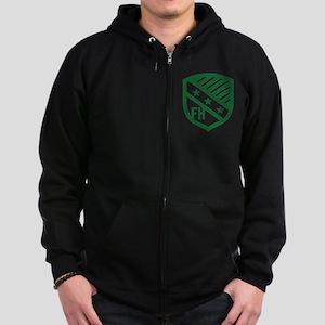 Farmhouse Fraternity Green Crest Zip Hoodie (dark)