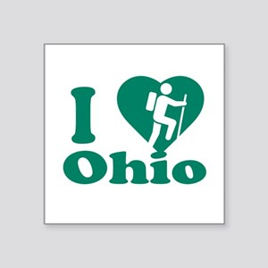 "Love Hiking Ohio Square Sticker 3"" x 3"""