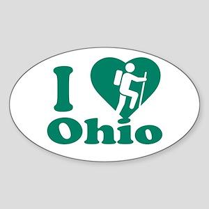 Love Hiking Ohio Sticker (Oval)