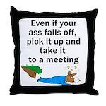 ass-falls-off Throw Pillow