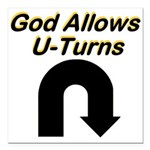 u-turns Square Car Magnet 3