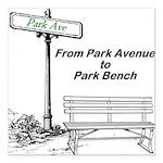 park-avenue-park-bench Square Car Magnet 3