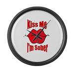 kiss-me-sober-2 Large Wall Clock