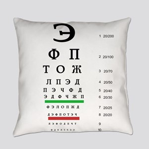 Snellen Cyrillic Eye Chart Everyday Pillow