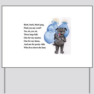 Bark Bark Black Pug Yard Sign