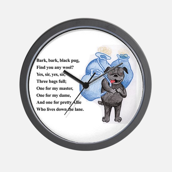 Bark Bark Black Pug Wall Clock
