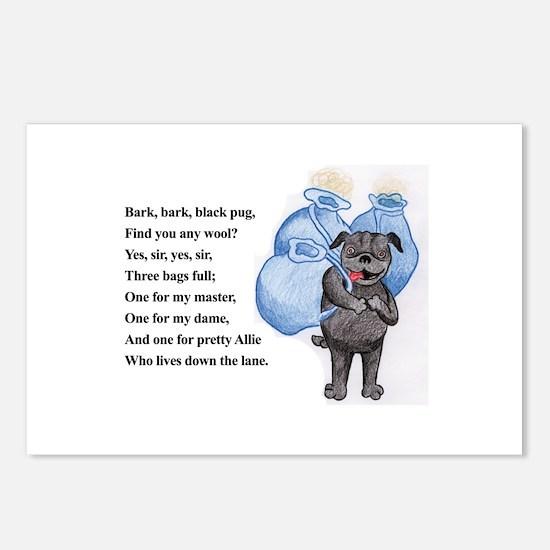 Bark Bark Black Pug Postcards (Package of 8)