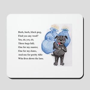 Bark Bark Black Pug Mousepad