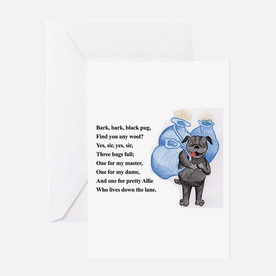 Bark Bark Black Pug Greeting Card