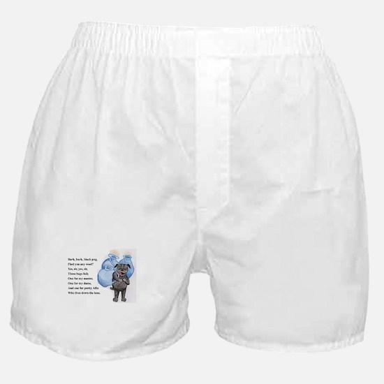 Bark Bark Black Pug Boxer Shorts