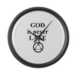 God is never late Large Wall Clock