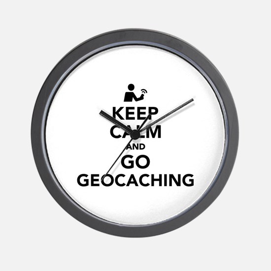 Keep calm and go Geocaching Wall Clock