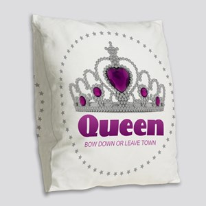 Bow Down or Leave Town Burlap Throw Pillow