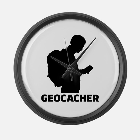 Geocacher Large Wall Clock