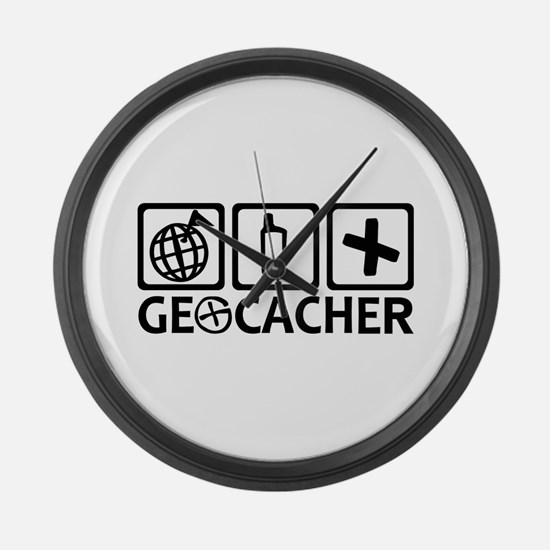 Geocacher Geocaching Large Wall Clock