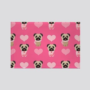 Valentine's Day Pugs Rectangle Magnet