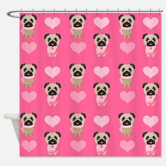 Valentine's Day Pugs Shower Curtain