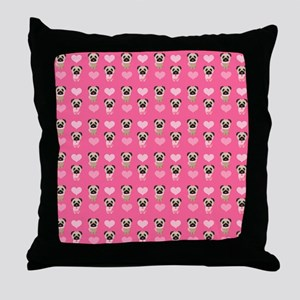 Valentine's Day Pugs Throw Pillow