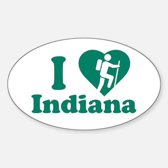 Love Hiking Indiana Sticker (Oval)
