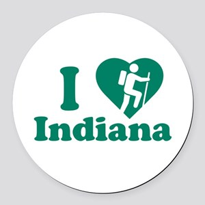 Love Hiking Indiana Round Car Magnet