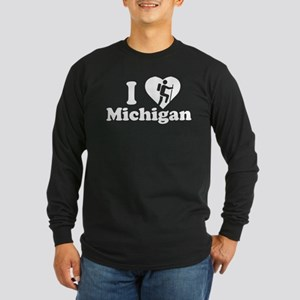 Love Hiking Michigan Long Sleeve Dark T-Shirt