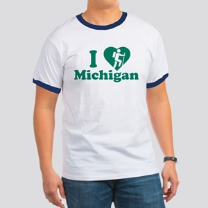 Love Hiking Michigan Ringer T