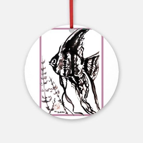 Angelfish! Chinese brush art! Round Ornament