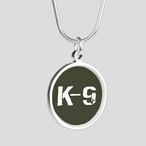 Police: K-9 Dog Handler Silver Round Necklace