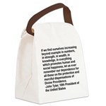 Tyler Quote in Black Letters Canvas Lunch Bag