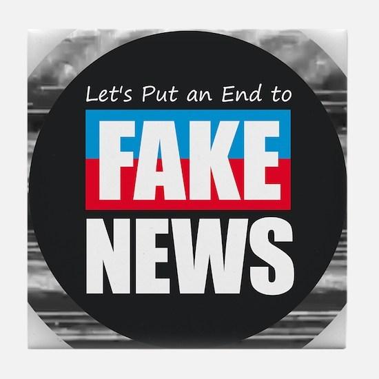 End Fake News Tile Coaster