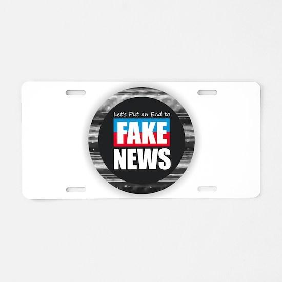 End Fake News Aluminum License Plate