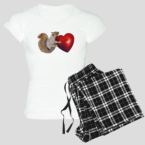 Squirrel Big Red Heart Pajamas