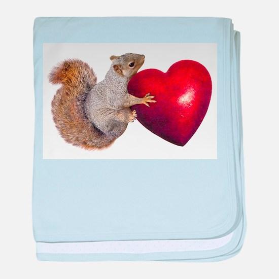 Squirrel Big Red Heart baby blanket