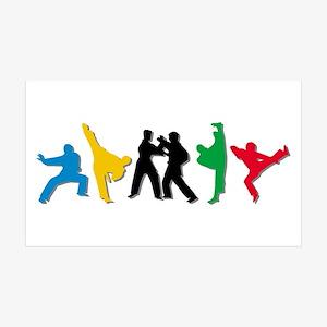 Tae Kwon Do Kicks 35x21 Wall Decal