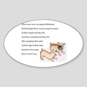 Pugs of Kilkenny Oval Sticker