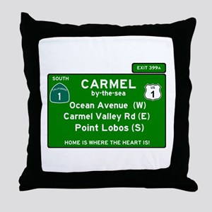 HIGHWAY 1 SIGN - CALIFORNIA - CARMEL Throw Pillow