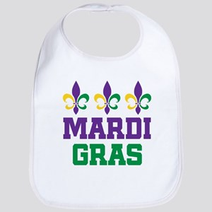 mardi gras trio w words Baby Bib