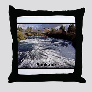 Spokane River Upper Falls Throw Pillow