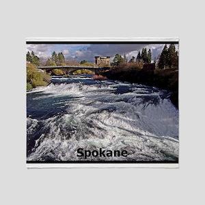 Spokane River Upper Falls Throw Blanket