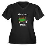 Garden Diva Women's Plus Size V-Neck Dark T-Shirt