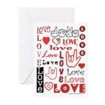 Love Words and Hearts Greeting Cards (Pk of 20)