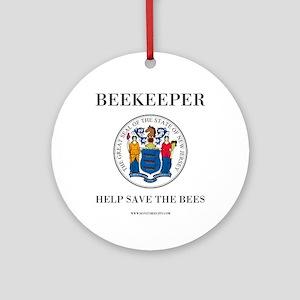 New Jersey Beekeeper Round Ornament