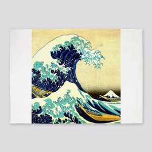 The Great Wave off Kanagawa Ukiyoe 5'x7'Area Rug
