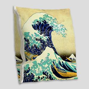 The Great Wave off Kanagawa Uk Burlap Throw Pillow