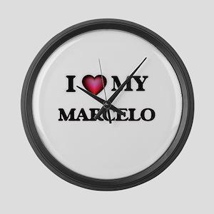 I love Marcelo Large Wall Clock