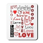 Love Words and Hearts Mousepad