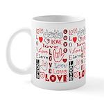 Love Words and Hearts Mug